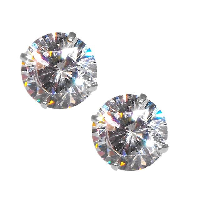 14k White Gold Cubic Zirconia Stud Earrings - Thumbnail 0