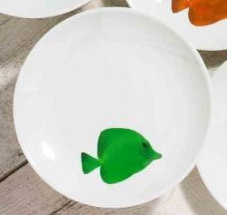 Kamra Green Fish Plate 9-inch (Set of 4)