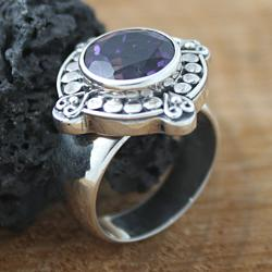Sterling Silver Round Amethyst Bali Ring (Indonesia) - Thumbnail 1