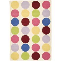Safavieh Handmade Children's Pokka Dots Ivory N. Z. Wool Rug (5' x 8')