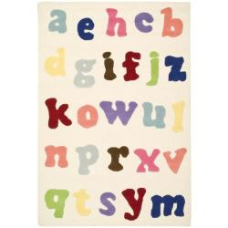Safavieh Handmade Children's Alphabet Ivory New Zealand Wool Rug (4' x 6')