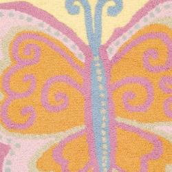 Safavieh Handmade Children's Butterfly Yellow N. Z. Wool Rug (4' Round)