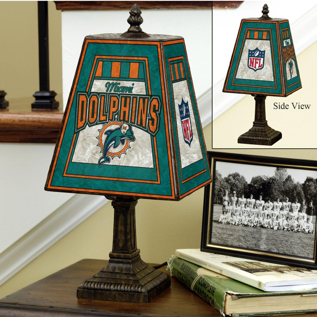 Miami Dolphins 14-inch Art Glass Lamp