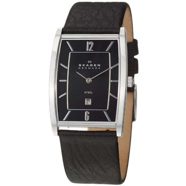 Skagen Men's 'Classic' Stainless Steel and Leather Strap Watch
