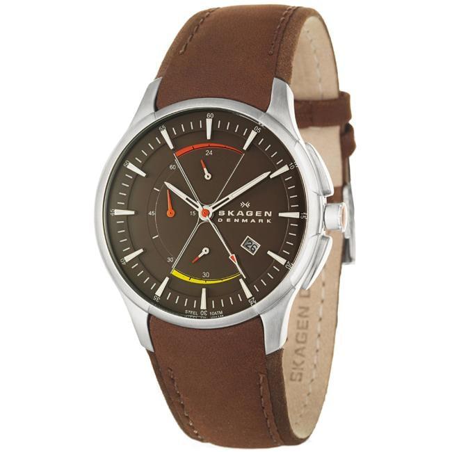 Skagen Men's 'Sport' Stainless Steel and Leather Quartz Watch