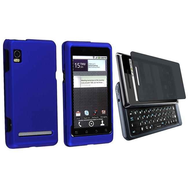 Dark Blue Rubber Case/ Privacy Filter for Motorola Droid 2
