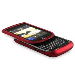 Wine Red Rubber Case/ Privacy Filter for BlackBerry Torch 9800 - Thumbnail 1