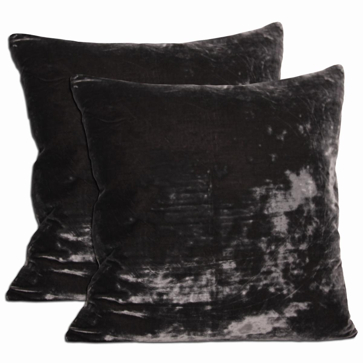 Grey Velvet Throw Pillows (Set of 2)