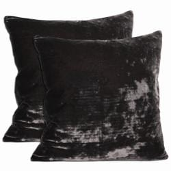 Grey Velvet Throw Pillows (Set of 2)