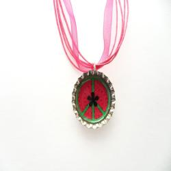 Hot Pink and Green Peace Bottle Cap Necklace