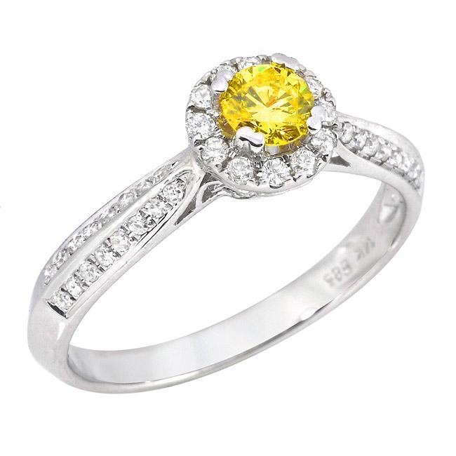 14k White Gold 1/2ct TDW Yellow and White Diamond Ring (G-H, SI2)