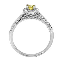 14k White Gold 1/2ct TDW Yellow and White Diamond Ring (G-H, SI2) - Thumbnail 1
