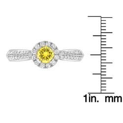14k White Gold 1/2ct TDW Yellow and White Diamond Ring (G-H, SI2) - Thumbnail 2