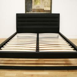 Cellini Modern Black Queen Platform Bed - Thumbnail 1
