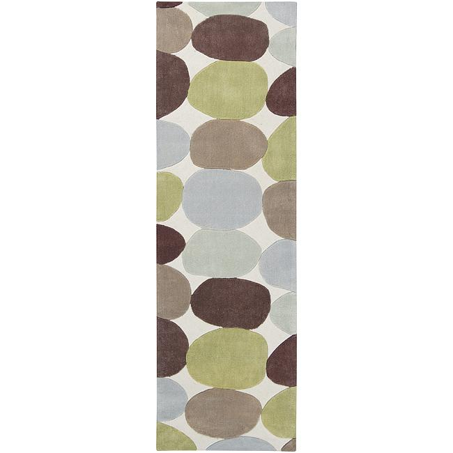 Hand-tufted Contemporary Multi Colored Circles Rocky Road Abstract Area Rug - 2'6 x 8'