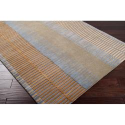 Hand-tufted Contemporary Grey/Green Striped Painterly New Zealand Wool Abstract Rug (2'6 x 8')