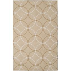Hand-tufted Contemporary Beige Retro Chic Green Geometric Abstract Rug (3'6 x 5'6)