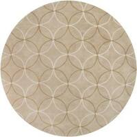 Hand-tufted Contemporary Beige Retro Chic Green Geometric Abstract Area Rug - 8'