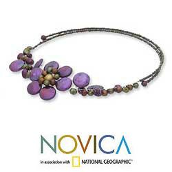 'Tantalizing' Violet Freshwater Pearl Necklace (4-12 mm) (Thailand) - Thumbnail 1