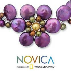 'Tantalizing' Violet Freshwater Pearl Necklace (4-12 mm) (Thailand) - Thumbnail 2