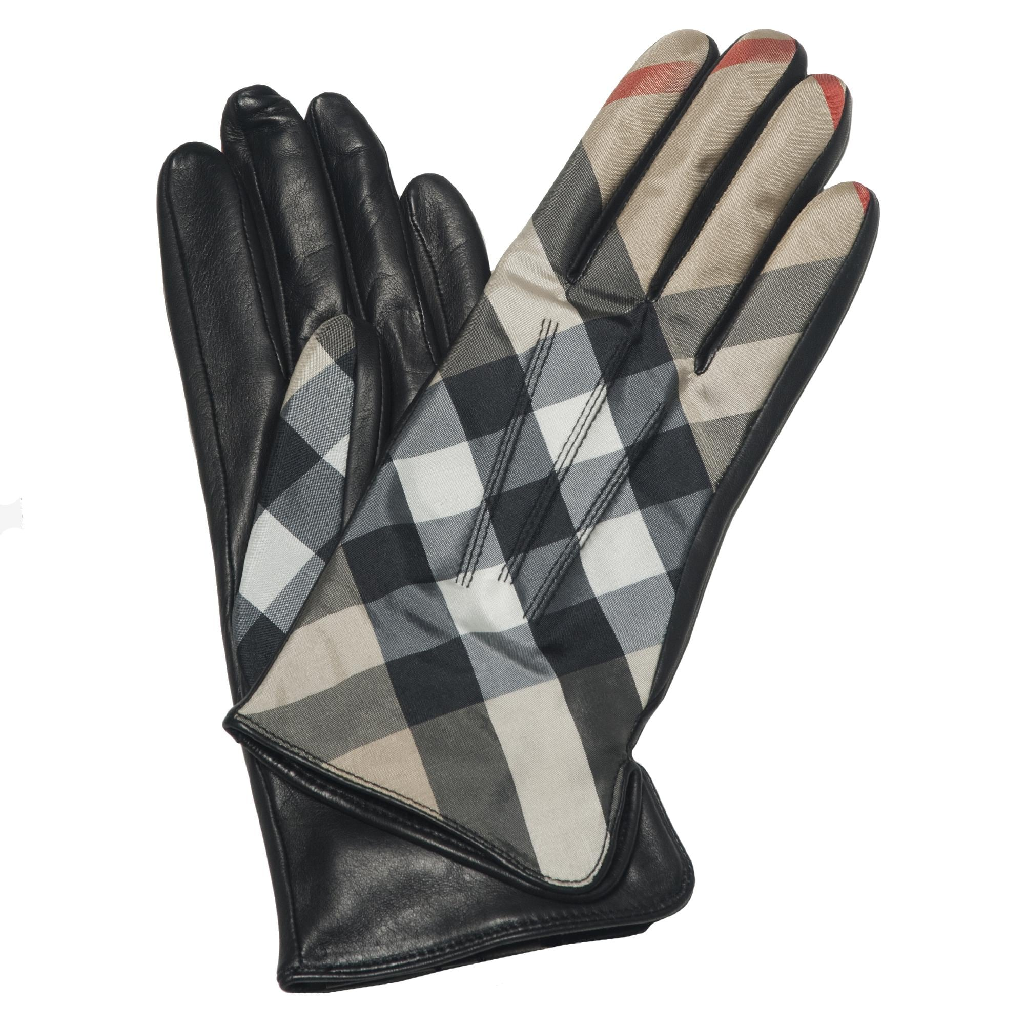 Overstock mens leather gloves - Burberry Check Print Gloves