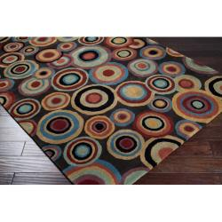 Hand-Tufted Contemporary Multicolored Circles Geometric Dazed New Zealand Wool Area Rug (6' Round)