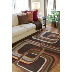 Hand-tufted Brown Contemporary Geometric Square Mayflower Wool Rug (4' Round)