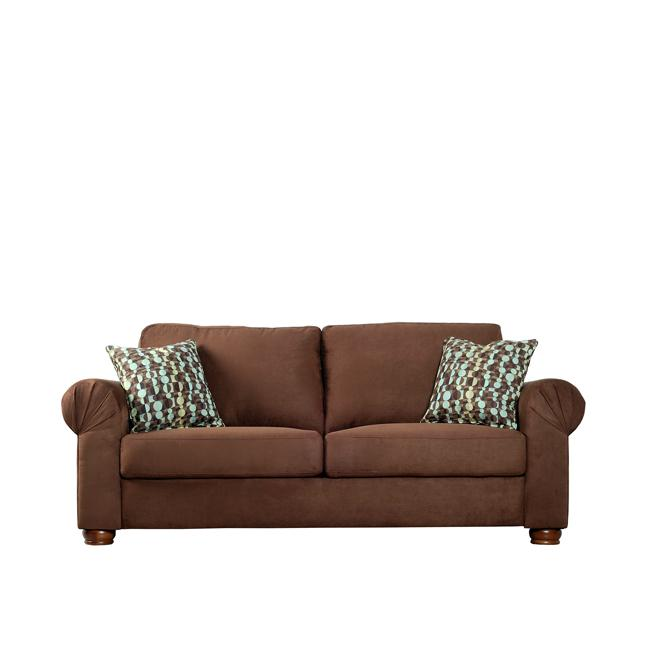 Owen Dark Brown Microfiber Rolled Arm Sofa Free Shipping