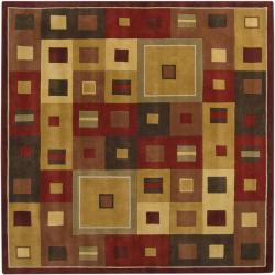 Hand-tufted Contemporary Red/Brown Geometric Square Mayflower Burgundy Wool Abstract Rug (6' Square)