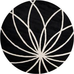 Hand-tufted Contemporary Black/White Mayflower Wool Abstract Rug (4' Round)