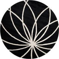 Hand-tufted Contemporary Black/White Mayflower Wool Abstract Area Rug - 4'