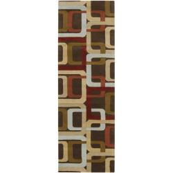 Hand-tufted Brown Contemporary Multi Colored Square Mayflower Wool Geometric Rug (2'6 x 8')