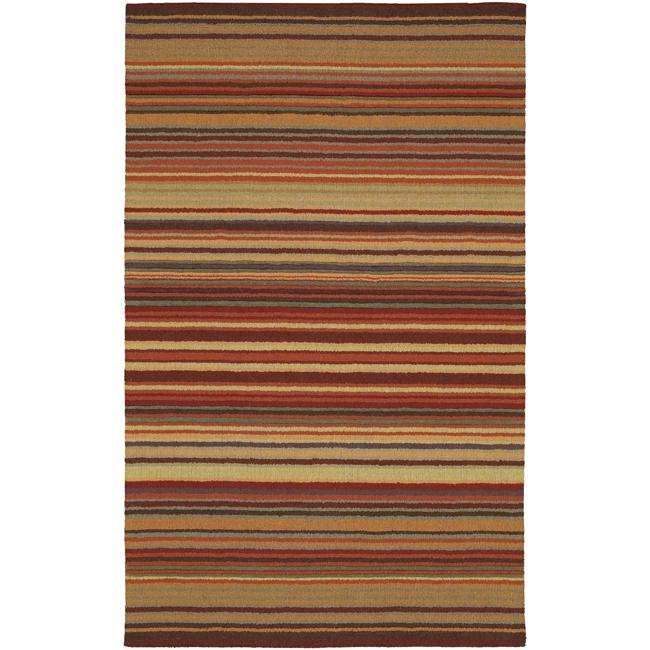 Hand crafted red striped casual wool area rug 5 39 x 8 for Red and white striped area rug