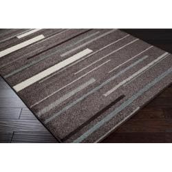 Hand-tufted Lily Contemporary Brown Stripe Rug (5'3 x 7'6) - Thumbnail 1