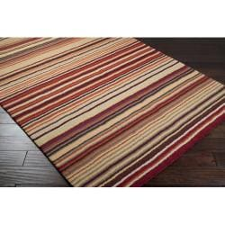 Hand-crafted Red Striped Casual Wool Rug (2'6 x 8') - Thumbnail 1