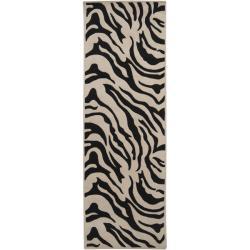 Hand-tufted Black/White Zebra Animal Print Glamorous Wool Rug (2'6 x 8')