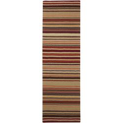 Hand-crafted Red Striped Casual Wool Rug (2'6 x 8')