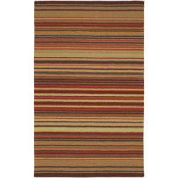 Hand-crafted Red Striped Casual Wool Rug (3'3 x 5'3)