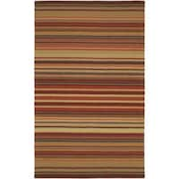 Palm Canyon Orella Hand-crafted Red Striped Casual Wool Area Rug - 5' x 8'