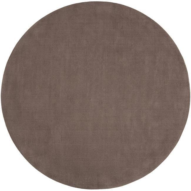 Hand-crafted Solid Brown Casual Ridges Wool Rug (8' Round)