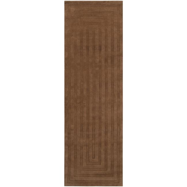 Hand-crafted Brown Geometric Embossed Wool Rug (2'6 x 8')
