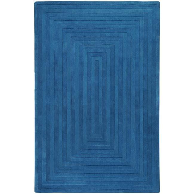 Hand-crafted Blue Geometric Ridges Wool Rug (3'3 x 5'3)