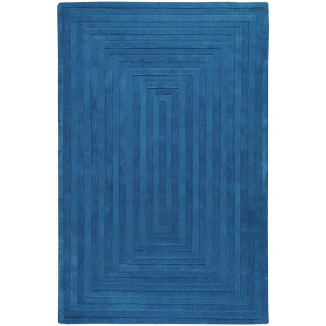 Hand-crafted Blue Geometric Ridges Wool Rug (5' x 8')