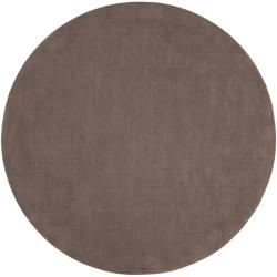 Hand-crafted Solid Brown Casual Ridges Wool Area Rug (8' Round) - Thumbnail 0