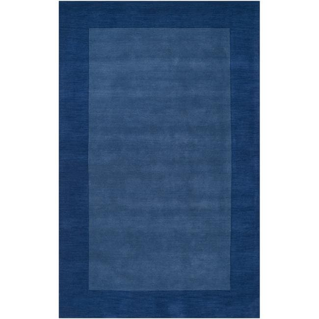 Hand-crafted Blue Tone-On-Tone Bordered Wool Area Rug - 6' x 9'