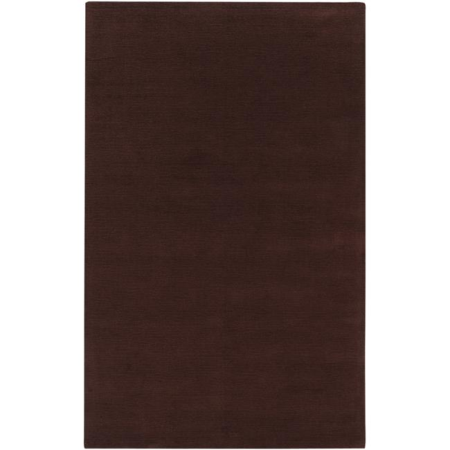 Hand-crafted Brown Solid Casual Ridges Wool Rug (9' x 13')
