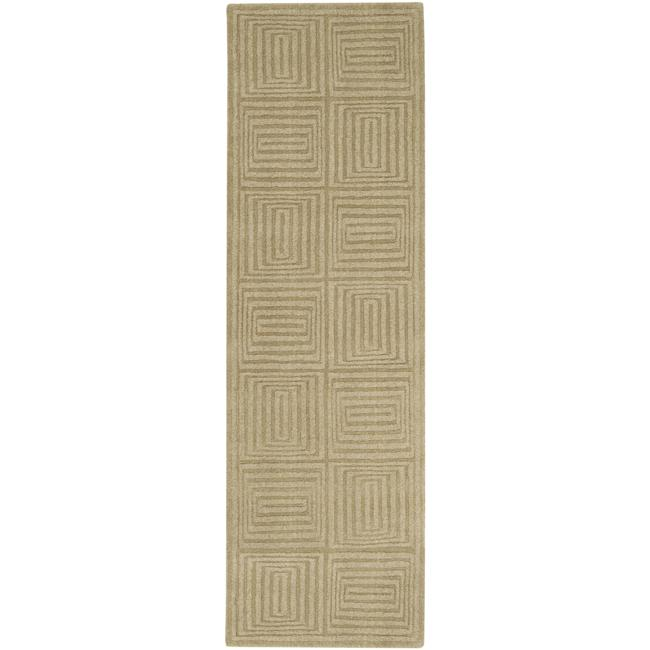 Hand-crafted Solid Beige Geometric Manhattan Wool Rug (2'6 x 8')
