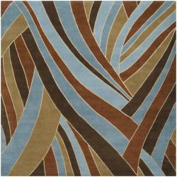 Hand-tufted Contemporary Blue Striped Mayflower Sky Wool Rug (4' Square)