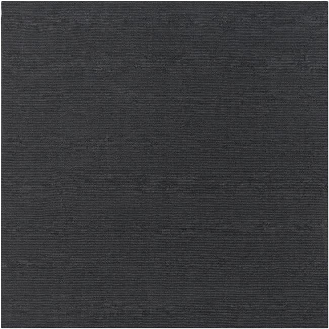 Hand-crafted Solid Black Casual Ridges Wool Rug (9'9 Square)