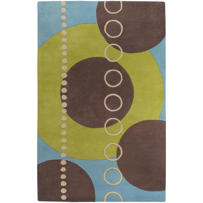 Hand-tufted Contemporary Multi Colored Geometric Circles Mayflower Wool Abstract Rug (10' x 14')